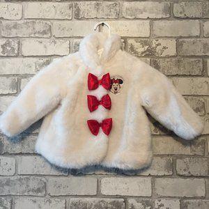 Minnie Mouse White Fur Jacket Size 12-18 Months